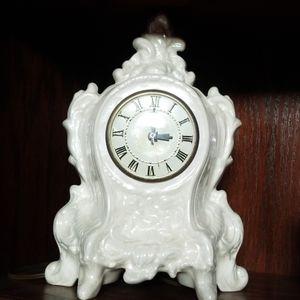 Vtg opal iridescent lanshire clock 1950s antique